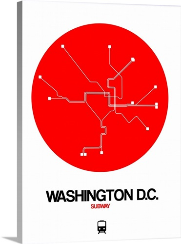 Washington D.C. Red Subway Map Wall Art, Canvas Prints, Framed ...
