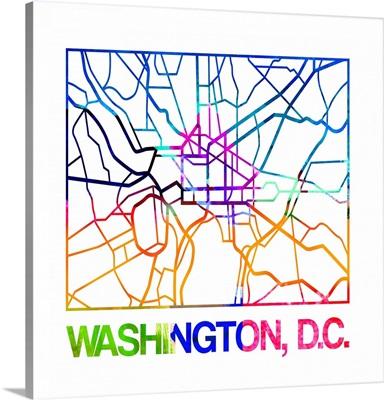Washington D.C. Watercolor Street Map