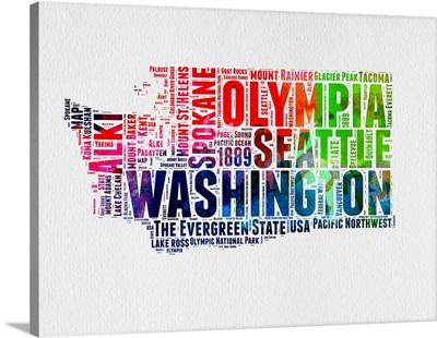 Washington Watercolor Word Cloud