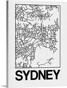 White Map of Sydney Wall Art, Canvas Prints, Framed Prints