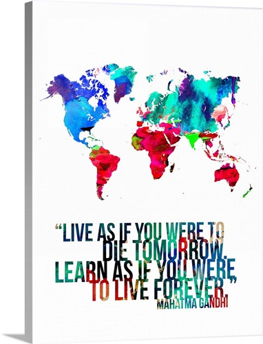 World map quote mahatma gandhi wall art canvas prints framed world map quote mahatma gandhi gumiabroncs Gallery