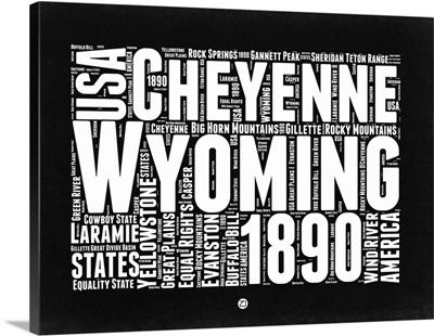 Wyoming Black and White Map