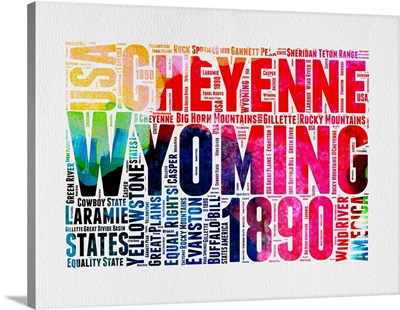 Wyoming Watercolor Word Cloud