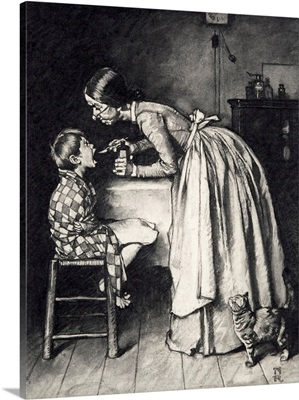 Aunt Polly Giving Tom Sawyer Medicine (Study)
