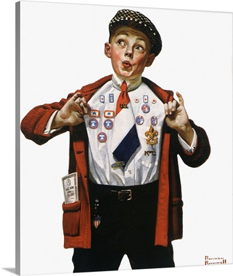 Boy Showing Off Badges