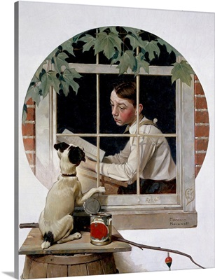 Schoolboy Gazing Out Window