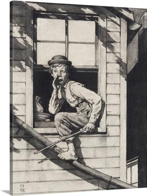 Tom Sawyer Sneaking Out Window (Study)