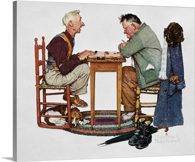 Two Old Men And Dog Checkers