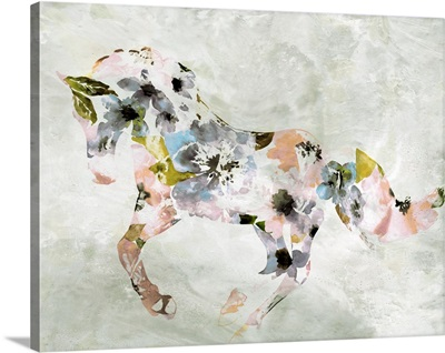 Colorful Abstract Floral Horse