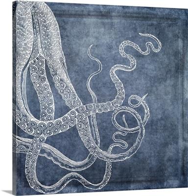 Octopus Dreams III - Twilight Blue Watercolor
