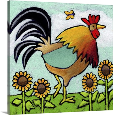 Rooster With Sunflowers
