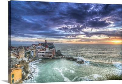 Sunset over Vernazza fishing village, Italy