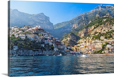 Coastal View of Positano from The Sea, Amalfi Coast, Campania, Italy