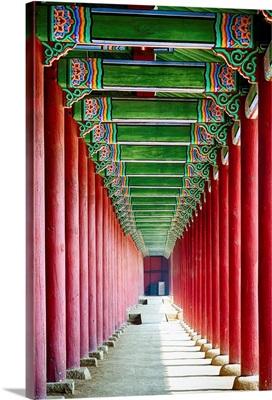Colonnade in a Royal Palace, Gyeongbokgung Palace, Seoul, South Korea