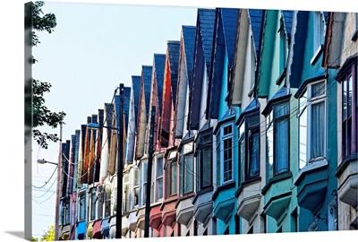 Colorful Row of House Facades, Cobh Town, County Cork, Ireland