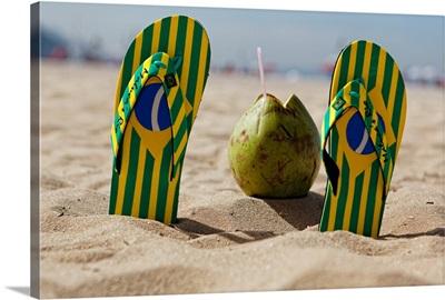 Flip-Flops and a Coconut, Copacabana Beach, Rio de Janeiro, Braz