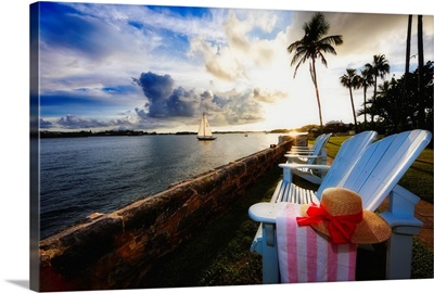 Hamilton Bay Sunset with Lounge Chairs, Bermuda