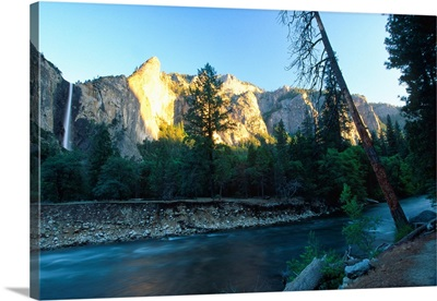 Merced River with the Bridalveil Waterfall at Sunset, Yosemite N