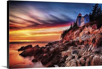 Sunset At Bass Harbor Head Lighthouse, Maine