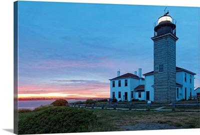 Sunset View of the Beavertail Lighthouse, Jamestown, Rhode Islan