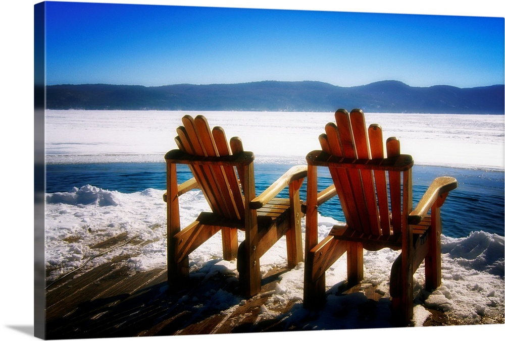 Two Adirondack Chairs On A Deck In Winter, Lake George, New York Wall Art,  Canvas Prints, Framed Prints, Wall Peels | Great Big Canvas
