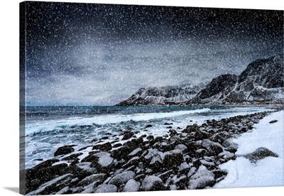 Unstad Beach Under Snow