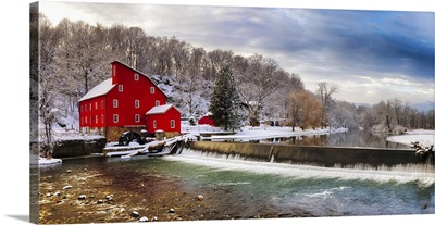 Winter Landscape Of A Red Gristmill And A Waterfall