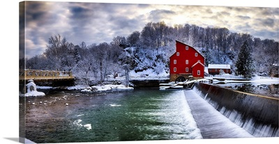 Winter Lanscape Of A Red Gristmill And Waterfall, New Jersey