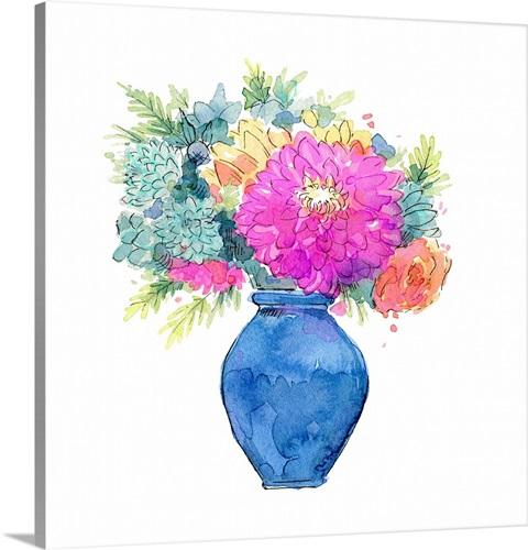 Chrysanthemum In Blue Vase Wall Art Canvas Prints Framed Prints