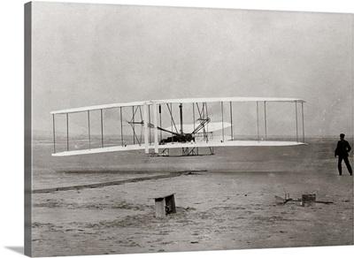 1903 Wright Brothers' Plane Taking Off At Kitty Hawk North Carolina USA