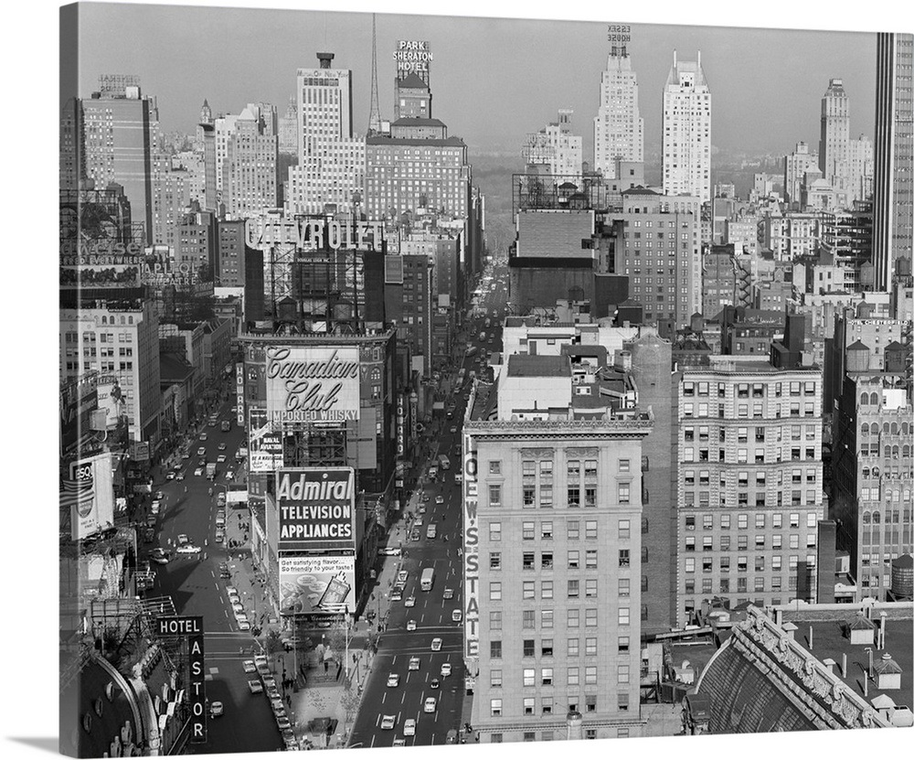 1950s new york city times square looking north from roof of hotel claridge nyc ny usa wall art