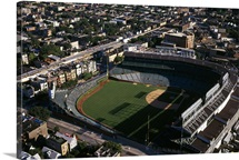 Aerial view of a baseball stadium, Wrigley Field, Chicago, Cook County, Illinois,