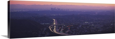 Aerial view of a city at dusk looking towards Los Angeles, Glendale, California