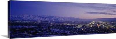 Aerial view of a city at dusk, Salt Lake City, Utah