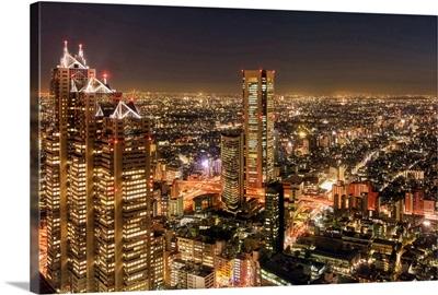 Aerial view of a city at night, Shinjuku Park Tower, Shinjuku, Tokyo, Japan