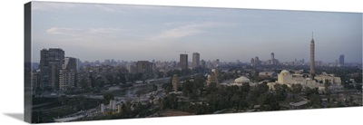 Aerial view of a city, Cairo Tower on right, Gezira Island, Cairo, Egypt