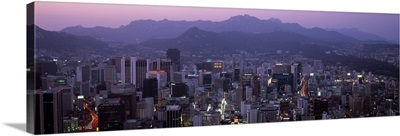 Aerial view of a city, Central Business District, Seoul, South Korea