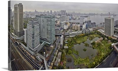 Aerial view of a city, Kyu Shiba Rikyu Garden, Tokyo Bay, Tokyo, Japan
