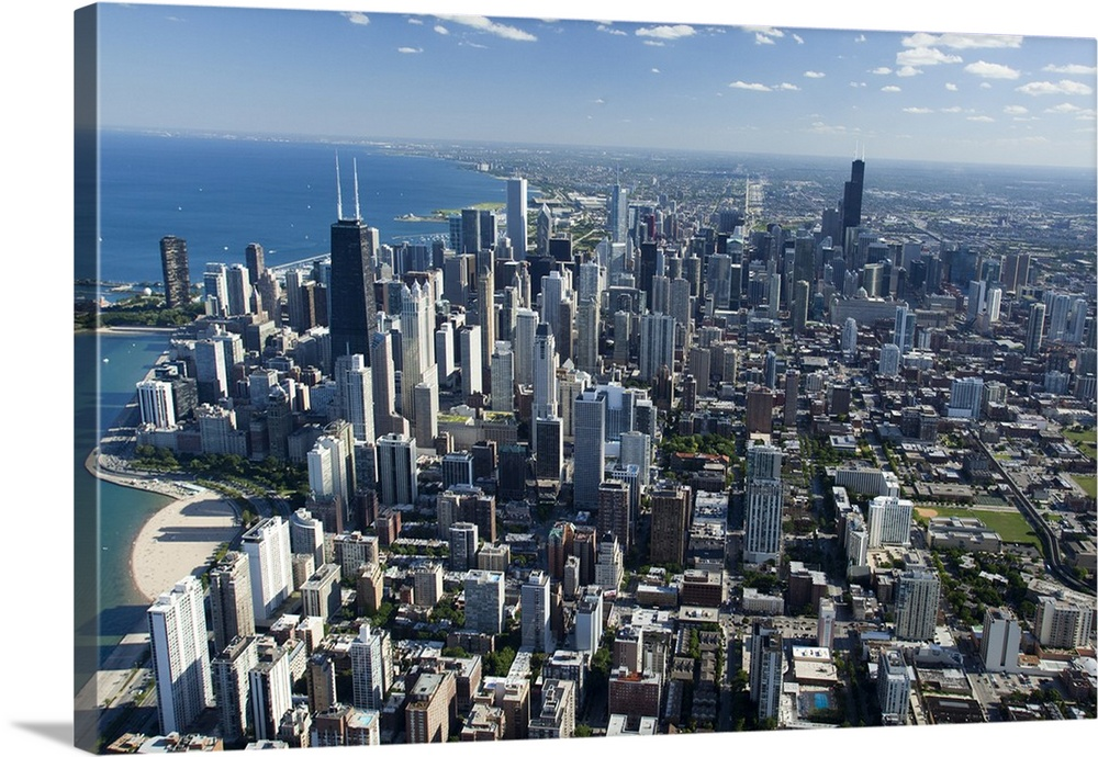 Aerial view of a city, Lake Michigan, Chicago, Cook County, Illinois