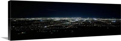 Aerial view of a city lit up at night, Phoenix, Maricopa County, Arizona