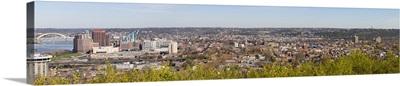 Aerial view of a city Newport Covington Kentucky Ohio River
