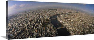 Aerial view of a city, Tokyo Prefecture, Japan