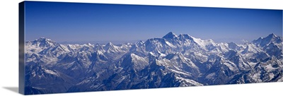 Aerial view of a mountain range, Himalayas, Kathmandu, Nepal