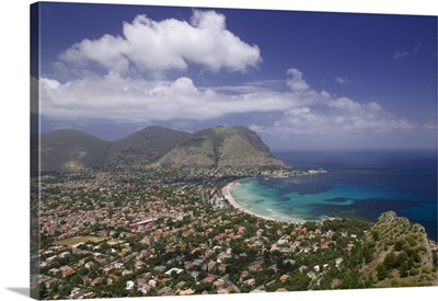 Aerial view of a town on a landscape, Mondello, Sicily, Italy