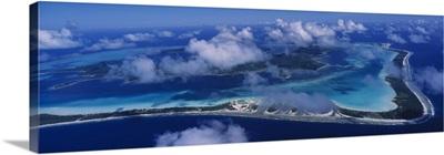 Aerial view of an island, Bora Bora, French Polynesia