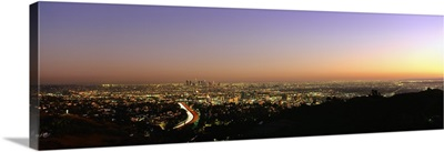 Aerial view of buildings in a city at dusk from Hollywood Hills, Hollywood, City of Los Angeles, California
