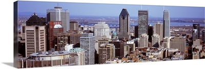 Aerial view of buildings in a city, Montreal, Quebec, Canada