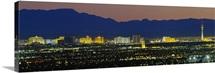 Aerial view of buildings lit up at dusk, Las Vegas, Nevada