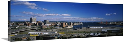 Aerial view of buildings on the waterfront, Saint John's River, New Brunswick, Canada