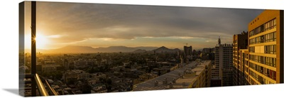 Aerial view of cityscape at sunset, Santiago, Chile